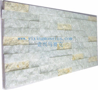 natural white mix yellow color marble mosaic tile for wall decoration