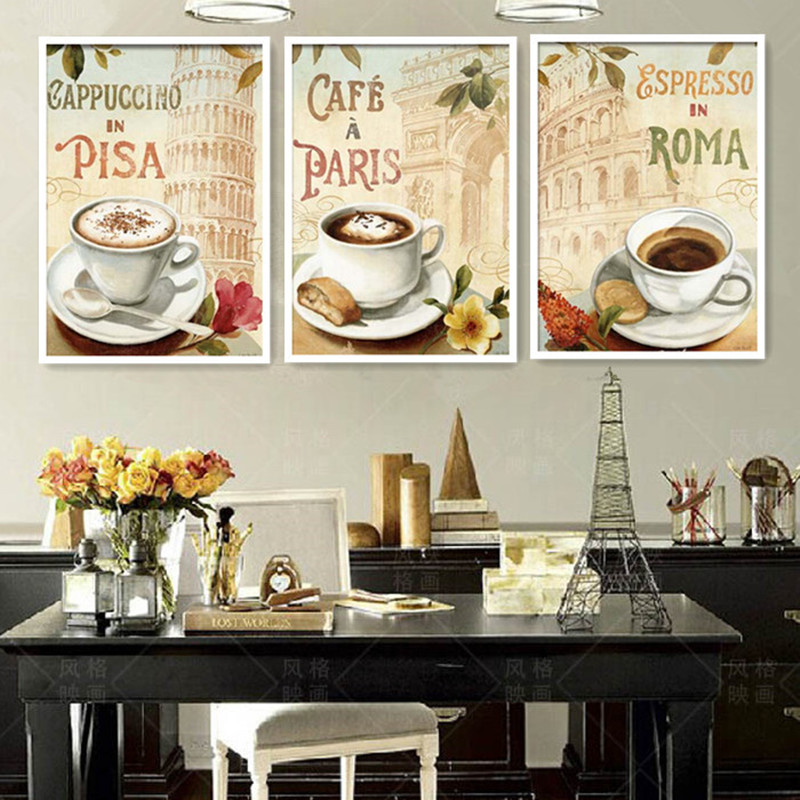 3 Piece Painting On Canvas Wall Art Nyc Street Lights New: HD1018 Cappuccino In Pisa Cafe In Paris Espresso In Rome