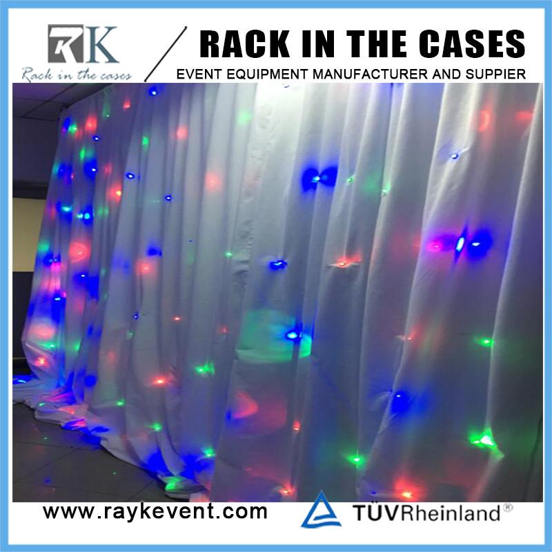 RK קישוט צינור חתונה וילון תפאורות עם לבן led וילונות