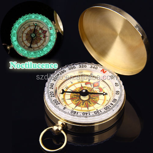 DIHAO Portable Travel Hiking Outdoor Classic Brass Camping Pocket Watch Style Compass