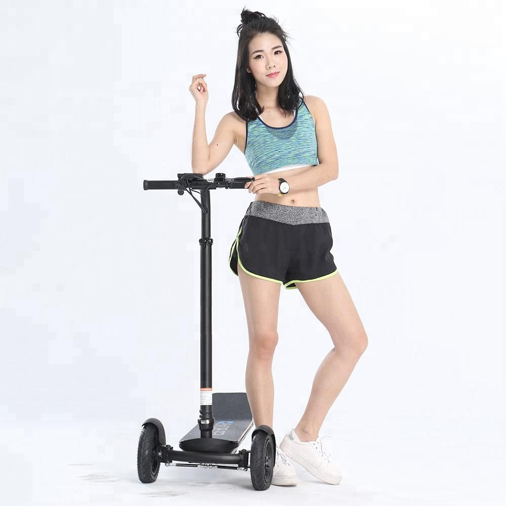 China factory customized 450W cheap foldable big wheel freestyle three wheel electric scooter, 5 optional grips or pure black