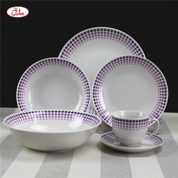 moderne stil lila dot muster 19 stcke porzellan geschirr set fr spanien und portugal - Geschirr Muster