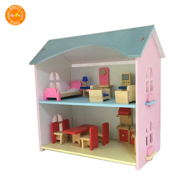 All Seasons Kid's Wooden Doll House Furnished With Accessories New Design  Assembly Wooden Toy House Wooden Doll Play House - Buy Doll House