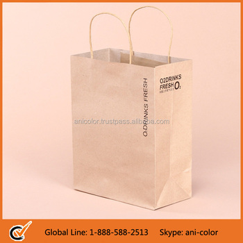 Customized Printing Brown Kraft Paper Bag with Paper Handle