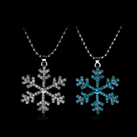 Christmas Surprise Gift Woman Charm Pearl Snowflake Frozen Necklace