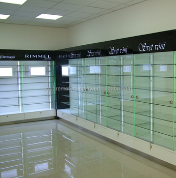 Cosmetics wall glass shelves showcases with led lights