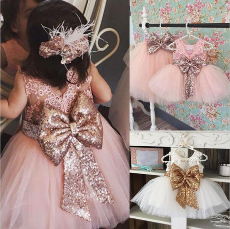 New Fashion Sequin Flower Girl Dress Wedding Party Birthday Princess Toddler Baby Girls Clothes Children Kids Girl Dresses