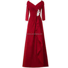 Ditambah Ukuran Ibu dari <span class=keywords><strong>Gaun</strong></span> Pengantin 2016 Hot Sale V-neck Tiga Perempat Lengan Panjang Chiffon Evening Dress Acara Formal <span class=keywords><strong>gaun</strong></span>