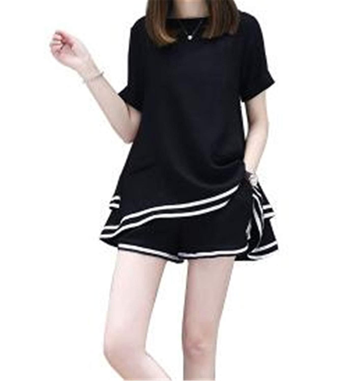 c2063fc6b1da Get Quotations · NQ Women 2 Piece Outfits Short Sleeve Loose Plus Size Top  with Shorts Set Sportwear