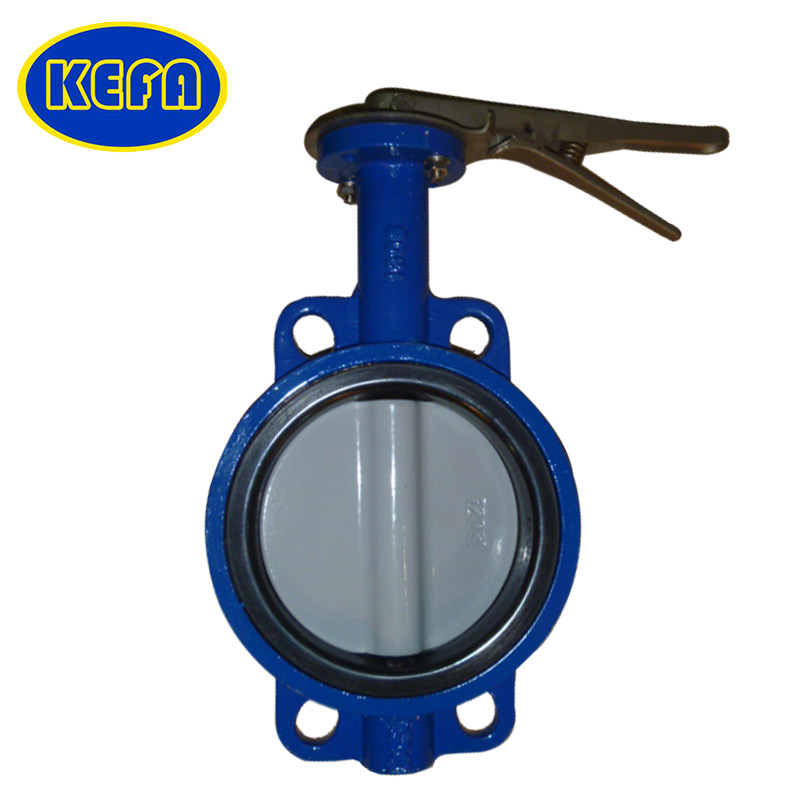 KEFA ANSI WCB wafer epoxy coating disc 1 inch lever pneumatic butterfly valve