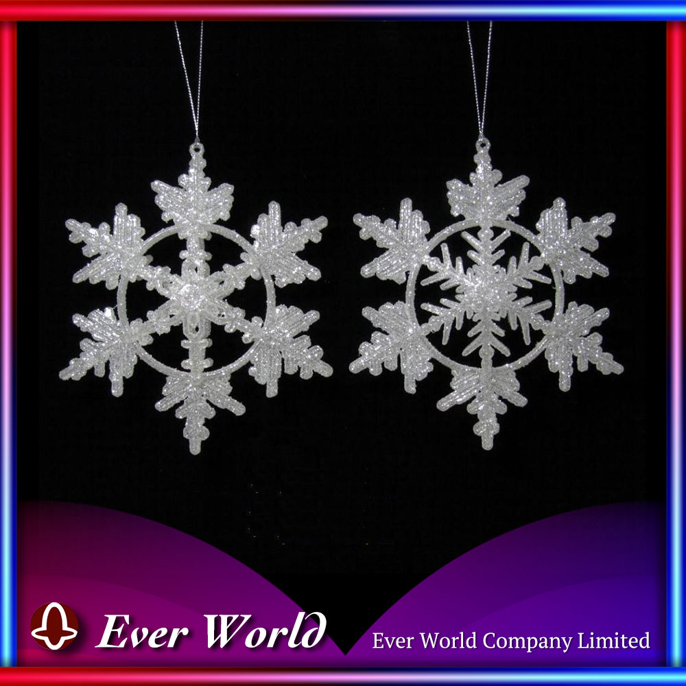 Christmas Ice White Glitter Plastic Snowflake Ornament 2 Asst. for Decoration Use