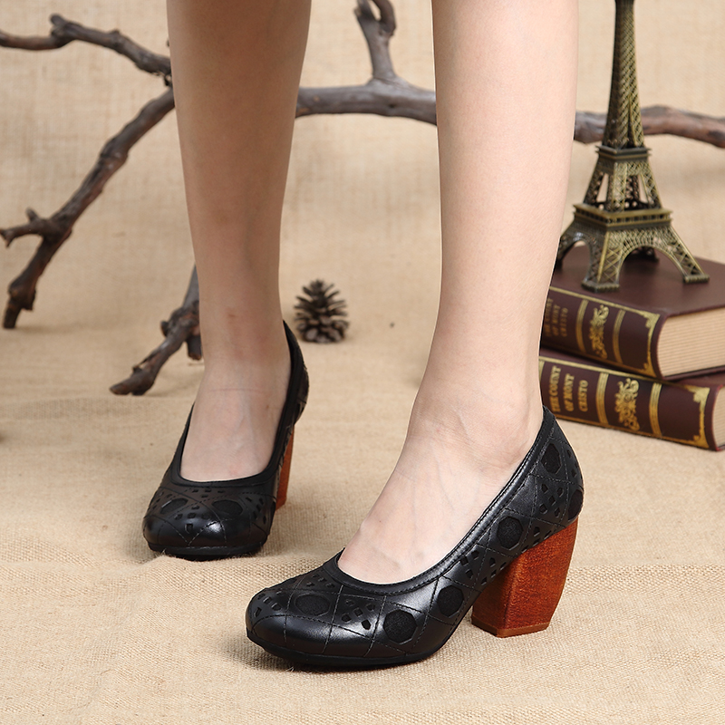 heels shoes round arrivals high pumps new genuine shoes toe women's 2017 handmade leather vXdCxOC