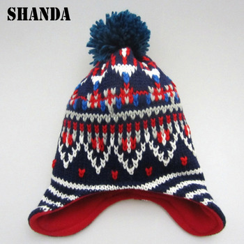 Winter baby children Pom Pom Flap Floppy Fleece Lined Beanie Hat with Ear  Flap aa0af8edb91