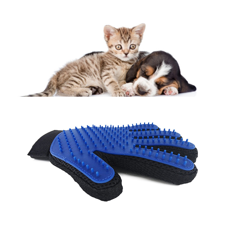 Factory Silicone 259 Tips Pet Massage Hair Glove Brush, Pet Dog Grooming Glove Brush