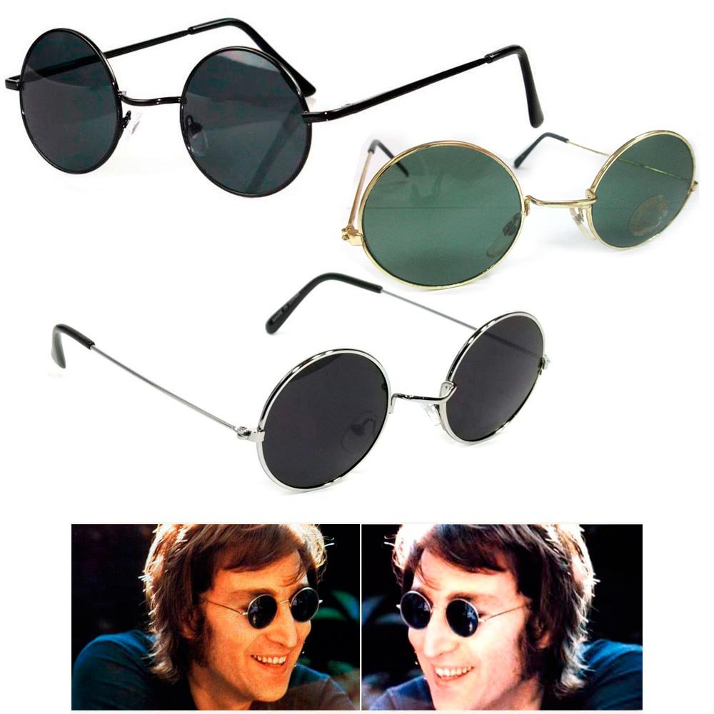 John Lennon Sunglasses Round Shades Wire Frame Colored Lenses Metal Retro Hippie