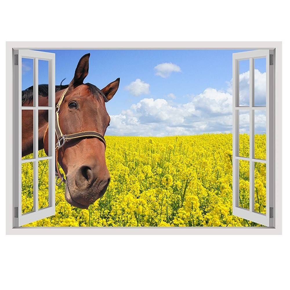 """Alonline Art - Horse In The Field Fake 3D Window VINYL STICKER DECAL 17""""x12"""" - 43x30cm For Bedroom For Home Decor Wall Art Stickers For Kitchen Artwork For Living Room Wall Decor Sticker"""