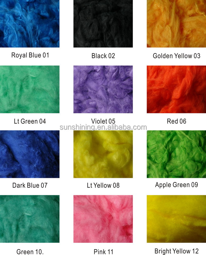 Viscose Staple Fiber color dyed fast shipment, little order acceptable