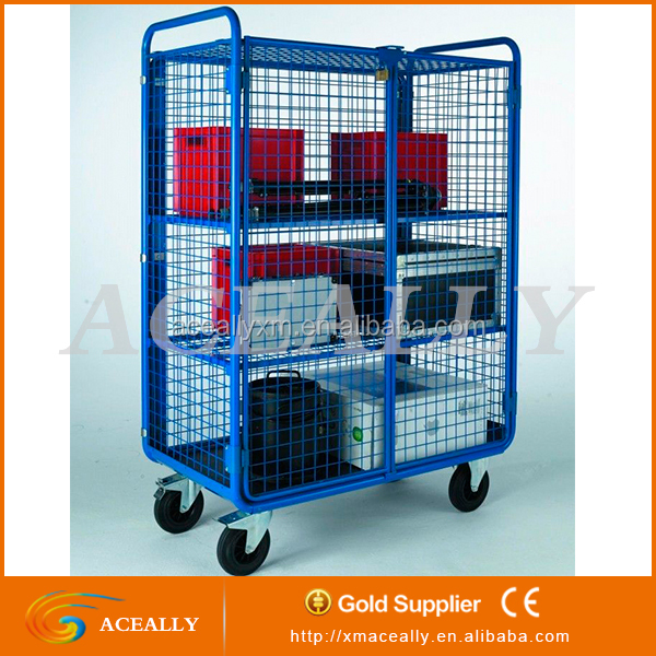 Customized aluminium trolley greenhouse modern flower cart display used roll cages