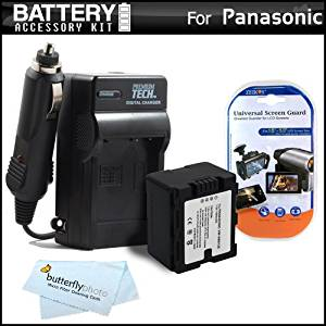 Battery And Charger Kit For Panasonic HC-X920, HC-X920M, HDC-TM900K, HDC-HS900K, HDC-SD800K 3 MOS 3D Compatible Camcorder Includes Extended Replacement (1500Mah) VW-VBN130 Battery (Fully Decoded!) + AC/DC Travel Charger + LCD Screen Protectors + More