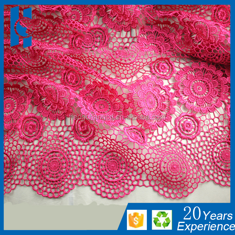 African ladies wedding dresses material pink guipure lace fabric/Wholesale nigerian latest cord lace