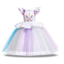 Детские платья с единорогом для девочек на Рождество, лето 2019(Китай)
