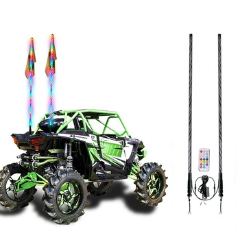 Waterproof Durable ATV UTV RZR Quick Release 4/5 Feet car antenna led light whip safety flag pole light for buggy polaris