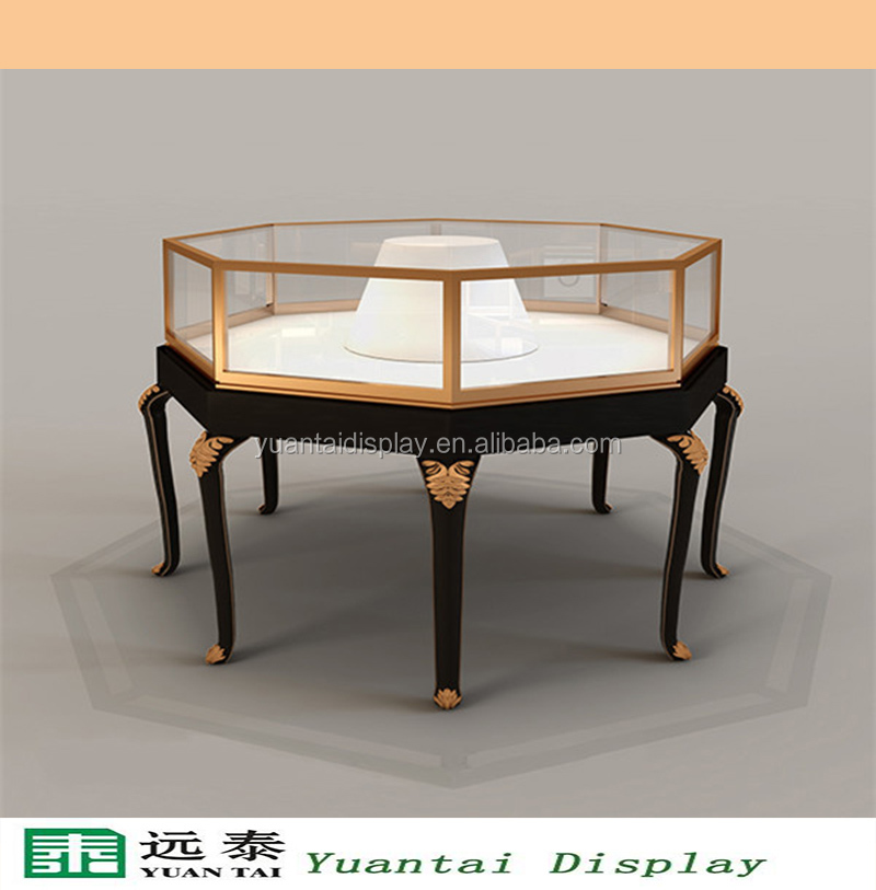 Round Wooden Jewelry Shop Counter/table Vitrine Furniture For Retail Shop