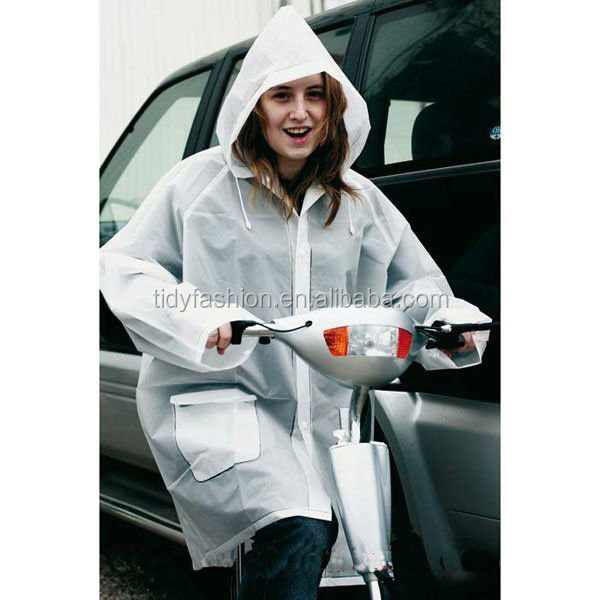 PVC Cheap Waterproof Plastic Plain Bike Rain Jacket