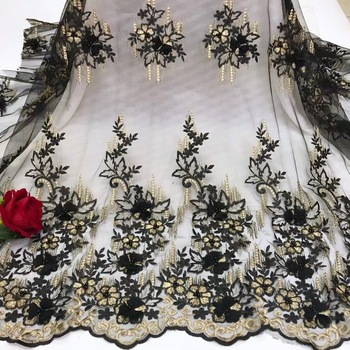 Beautifical Hotsale Flower 3d Lace Fabric Black Lace Fabric With beads Embroidered French Lace Fabric For Dress JYN299