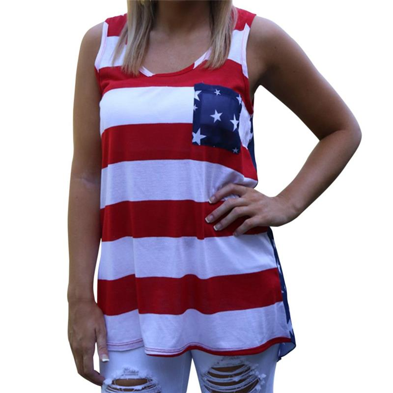 2015 Summer Style Casual Round Collar Striped Star American Flag Print Women's Tank Top Sleeveless Shirt Vest regata feminina