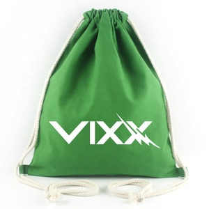 Custom gym sport polyester drawstring bag cotton canvas draw string bag