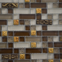 Square metal wall art mosaic glass crystal tile backsplash decorative