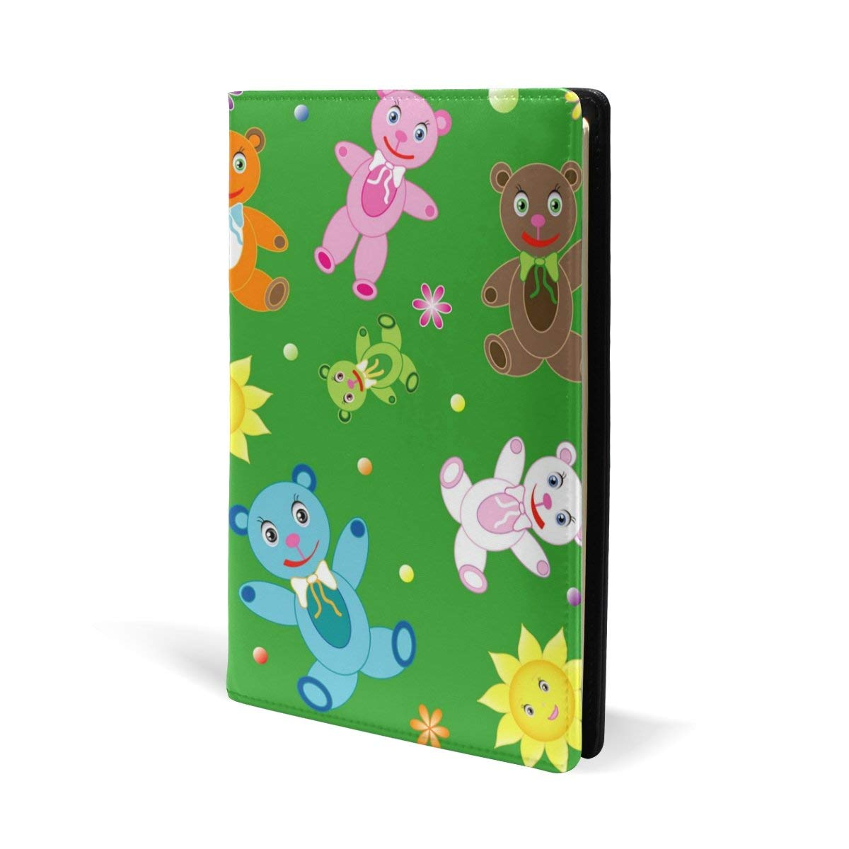 Aideess Childish Teddy Bears Stretchable Book Cover-Fits Most Hardcover Textbooks up to 8.7x5.8 in Adhesive Free, Leather Fabric School Book Protector, Easy to Put On Jacket