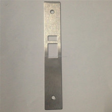 Metal door lock strike cover plate with screw hole