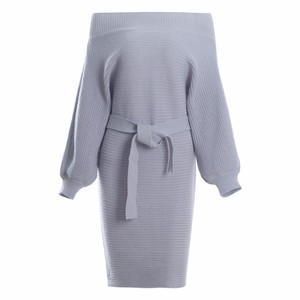 off shoulder sweater dress special stitch long sleeves office dress with belt