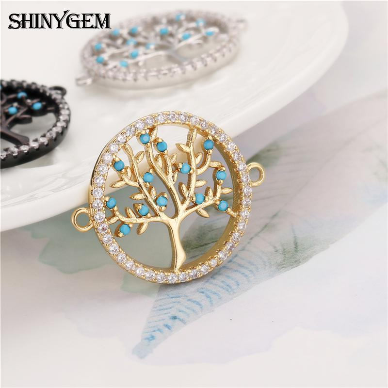 cheaper gold plated micro pave diamond stone beads christmas tree charms accessories for DIY custom bracelet jewelry findings