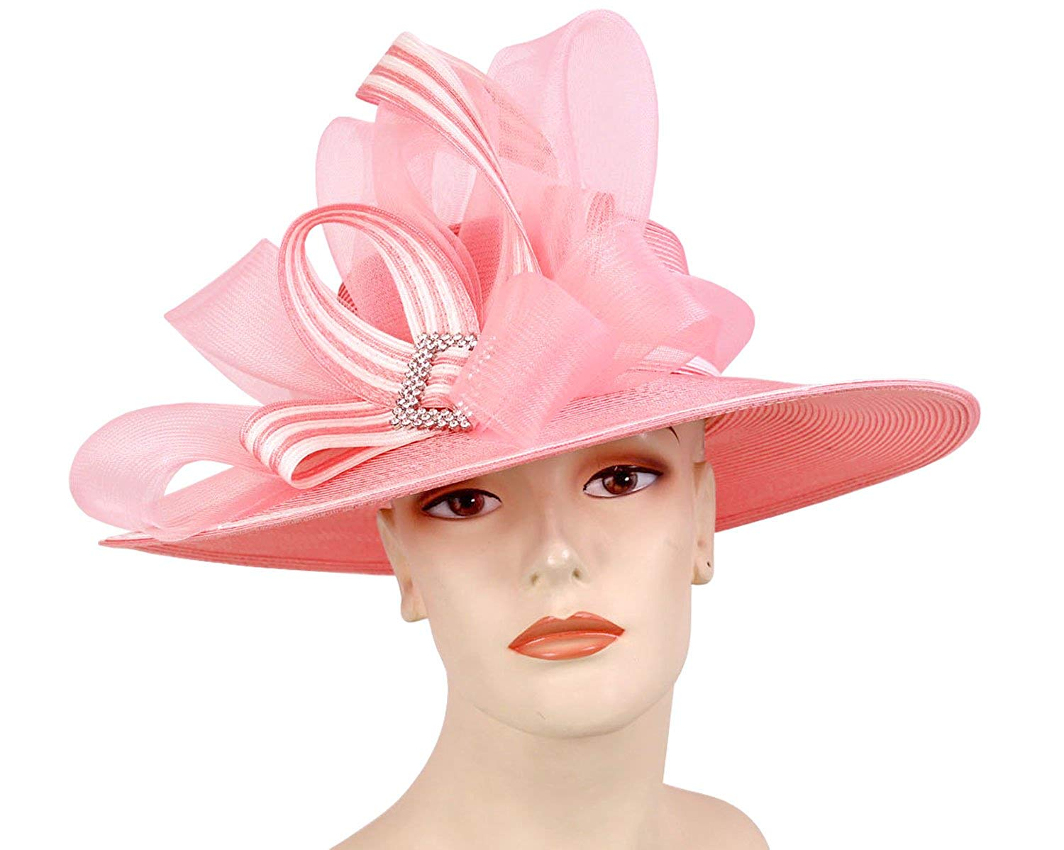 97d99a43180 Get Quotations · Ms Divine Women s Large Brim Straw Derby Church Hats Dress  Formal Sun Hats  1520