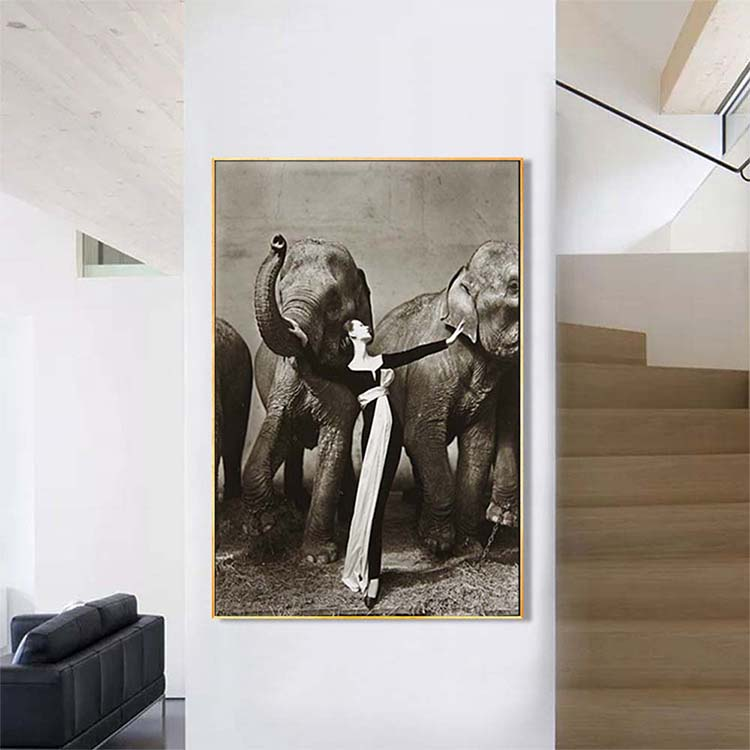 Customer design modern elephant and women sex oil painting decoration home