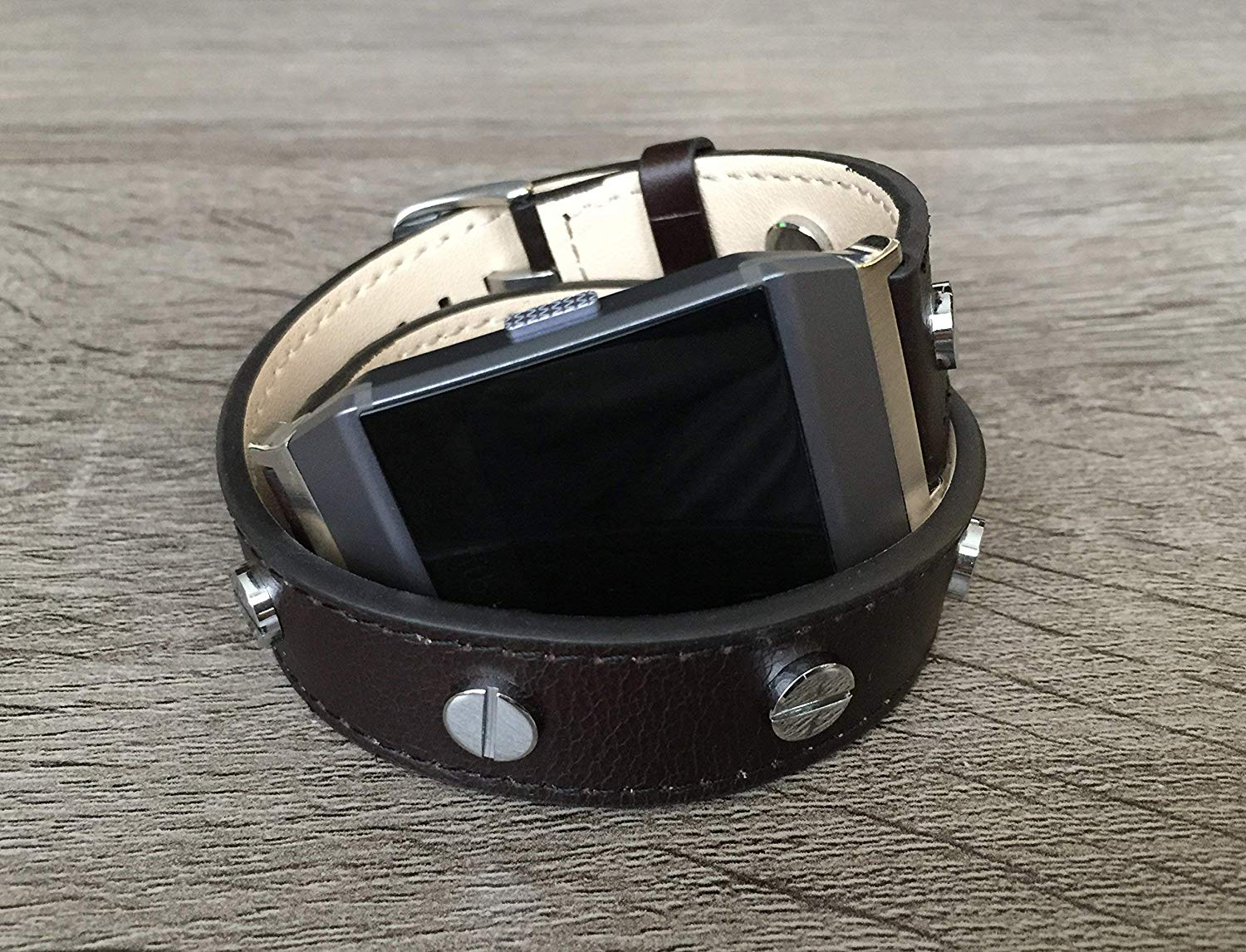 cc70341a9 Get Quotations · Luxury Dark Brown Vegan Leather Bracelet For Fitbit Ionic  Smart Watch Double Wrap Handmade Adjustable Size