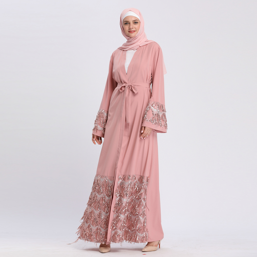 Hot sale fashion abaya muslim women open abaya soft crepe with shinning sequins maxi dress
