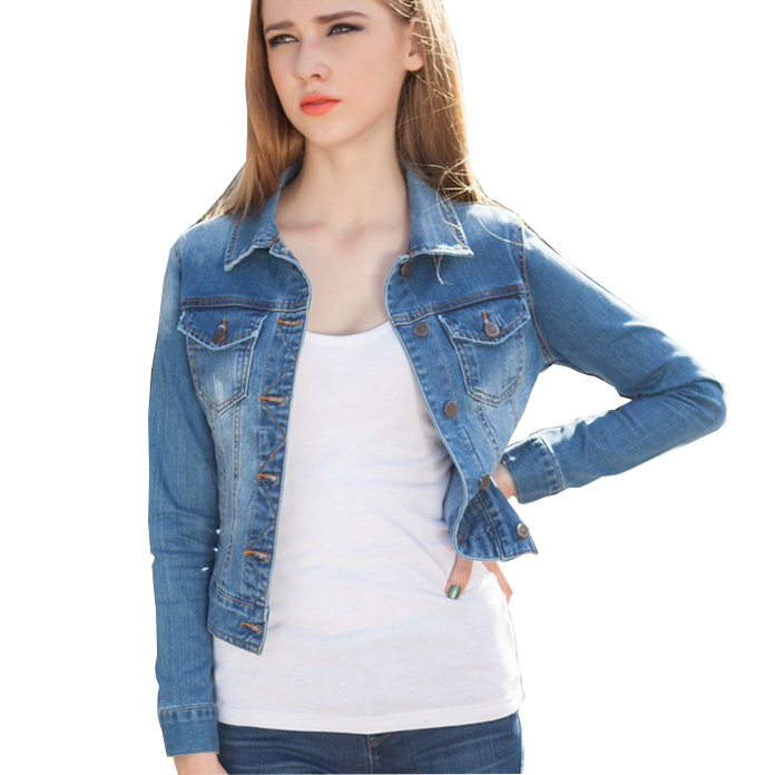 2015 Fashion Blue Denim Jacket For Women Spring Autumn Vintage Stretch Long Sleeve Short Jeans Jacket Outwear Plus Size XL WJ20