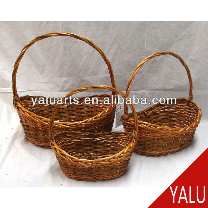 Wicker and wood chip basket 3pcs in 1 set natural color flower basket gift basket