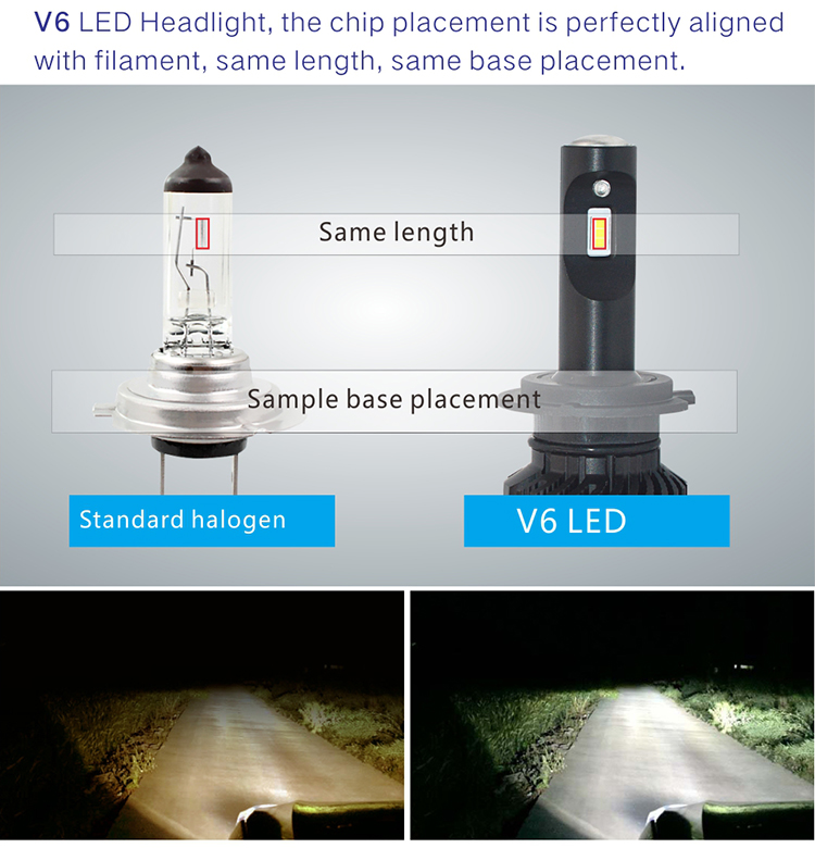 V6 70w h7 h13 h4 h15 h11 car led headlight bulb