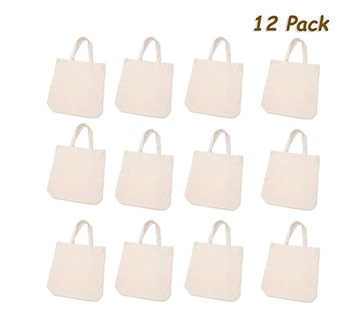 12 large canvas tote bag party favors bags bulk crafts design your