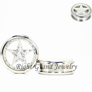 Silver Star 14mm Stainless Steel Flesh Tunnel On Gauges Ear