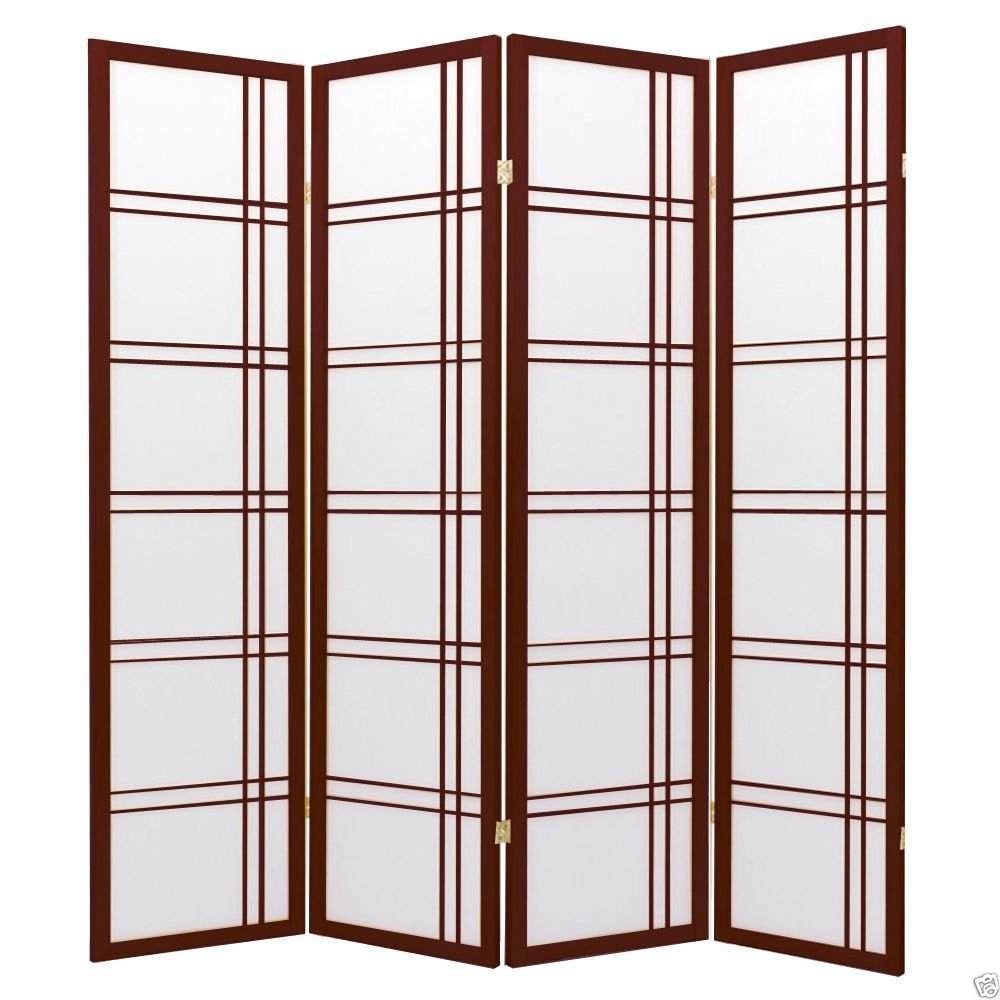 1PerfectChoice 4 Folding Panels Wood Shoji Room Divider Screen Oriental Traditional Line Option Color Cherry
