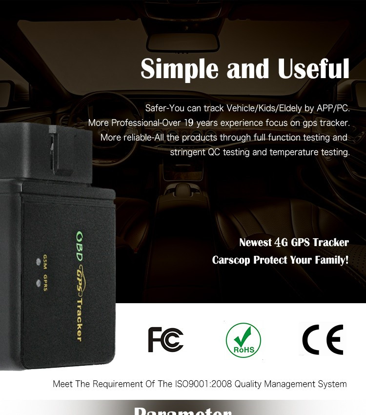 4GBuilt in Microphone Free Tracking Platform Auto obd2 GSM Tracker