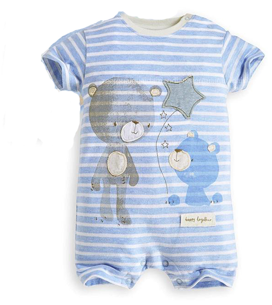 Baby rompers hot summer new baby boys clothes cartoon bear deer casual stripe short-sleeved jumpsuit toddlor infant clothing