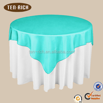 Satin Decorative Round Banquet Table Cloth With Turquoise Overlay