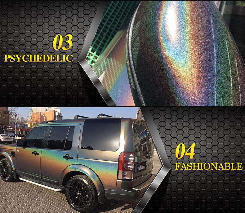 Carbins Selbst Adhesive PVC Material Fahrzeug Vinyl Rolle Laser Diamant Grau Chamäleon Aufkleber Für Car Wrapping Folie